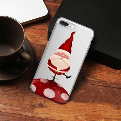 Clear Xmas Santa Claus Slim Soft TPU Case Cover Bumper for Samsung Huawei iPhone