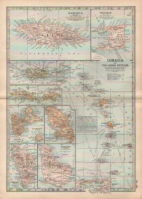 1903 map of Jamaica & The Lesser Antilles Adam & Charles Black