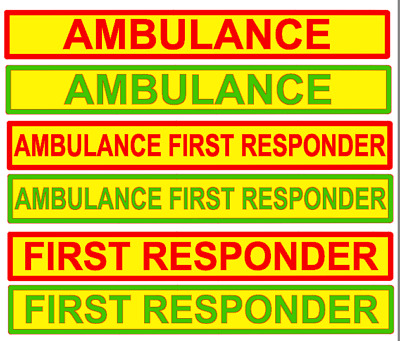 Magnetic Sign AMBULANCE Red or green Yellow First Responder vehicle emergency
