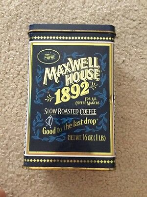 Maxwell House Coffee Tin 1892 1 lb Size Empty Navy Gold Tone