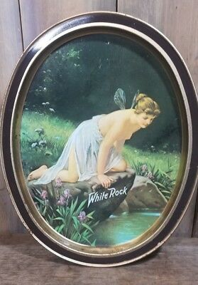 Vintage White Rock Table Water Tip Tray w/ Topless Water Nymph / Fairy -Oval