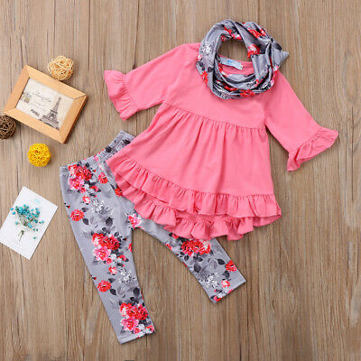 US STOCK Floral Kids Baby Girls Outfit Clothes T-shirt Long Tops Dress+Pants Set