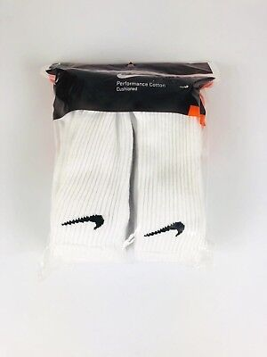 Nike Performance Cotton Cushioned Crew Socks 6 Pairs Pack  White Large 8-12 New