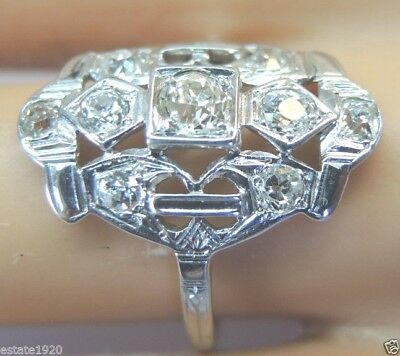 Antique Art Deco Vintage Diamond Engagement 18K White Gold EGL USA Ring Sz 7.5