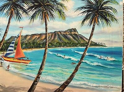 "Vtg 1950's ""Waikiki"" HI Orig. Oil Painting REPRODUCTION 16X20 Marie Ware 1 of 50"