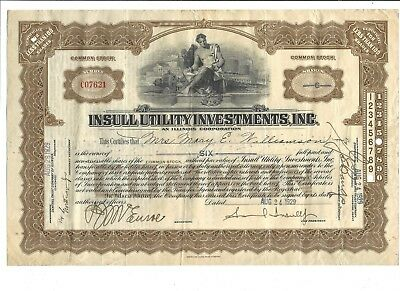 1929 Insull Utility Investments,inc Certificate-Illinois Company