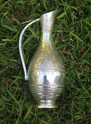Lovely Decorative Indian Silver Plated Jug Vase Etched Brass SEW India 169 FSP