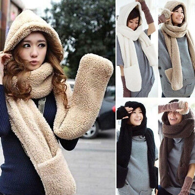 Cute 3 in 1 Winter Warm Women Plush Long Hooded Hat Cap Hooded Scarves Gloves