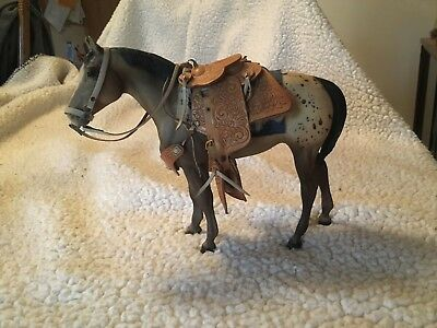 """Collectible Appaloosa Horse with saddle in Good Condition 8"""" h x 9"""" long"""