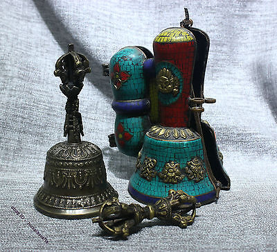 "Tibetan Temple Fane Ritual Old Bronze Gilt Silver Turquoise ""Five Pronged"" Bell"