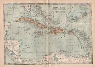 1903 map of West Indies Cuba Haiti Bahamas Bermudas Adam & Charles Black