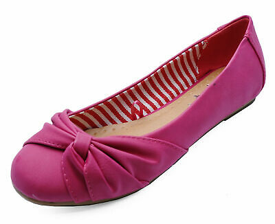 Ladies Flat Slip-On Pink Work Casual Shoes Dolly Comfy Ballet Pumps Sizes 2-8