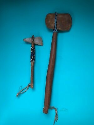 2 Vintage Native American Indian Weapon Tomahawk