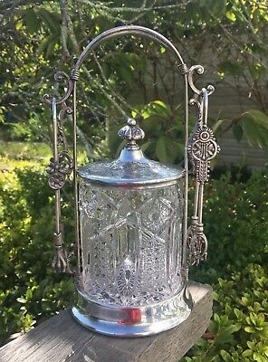 Beautiful Antique Victorian Pickle Castor Jar Silver Plated Forbes USA Crystal