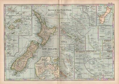 1903 map of Islands of the Pacific Ocean & New Zealand Adam & Charles Black