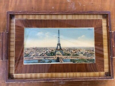 Vintage Marquetry Inlaid Wooden & Glass Tray Eiffel Tower Paris