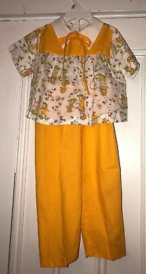 Vintage Sears Girls Outfit Yellow Floral Country Children Scene Sz Lg 2-3T