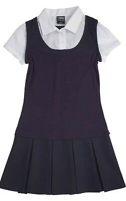 Girls French Toast 2-in-1 Pleated Dress Navy BLUE /WHITE SIZE 5