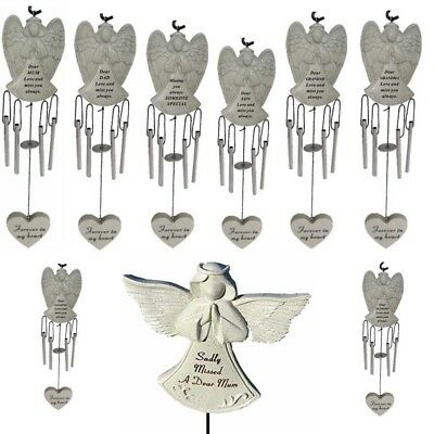Angel Memorial Wind Chime Graveside Remembrance For Grandad Dad Mum Tribute New