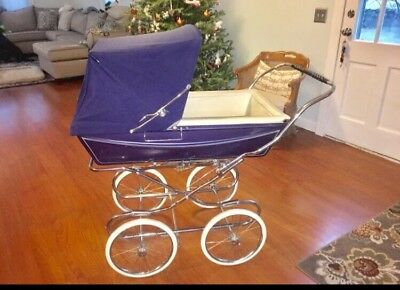 Vintage Silver Cross Pram Rare Kensington Navy Blue