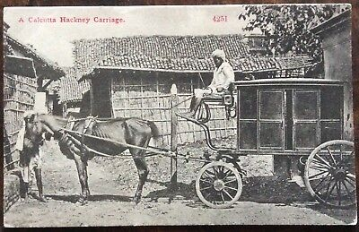 Antique Pc View Of A Calcutta Hackney Carriage India Used By Local Women 1905