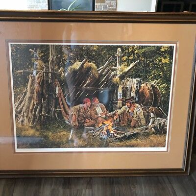 "Large Framed Paul Calle Signed and Numbered Litho ""Storyteller of the Mountains"""
