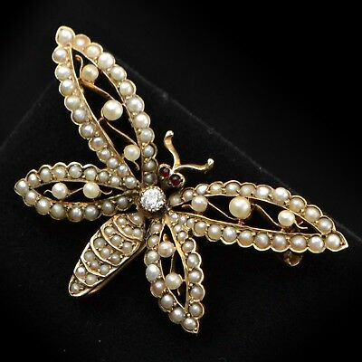 VINTAGE 14K Yellow Gold Diamond & Pearl Butterfly Brooch Pin Estate Jewelry