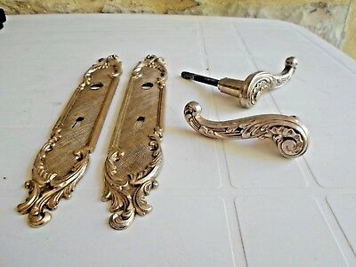 French Vintage solid brass CHATEAU Backplates with handle, Louis XV style