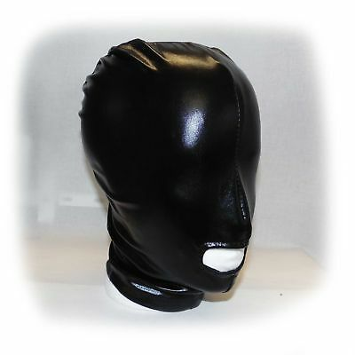 Black Latex Hood Showing MouthSize one size (233)