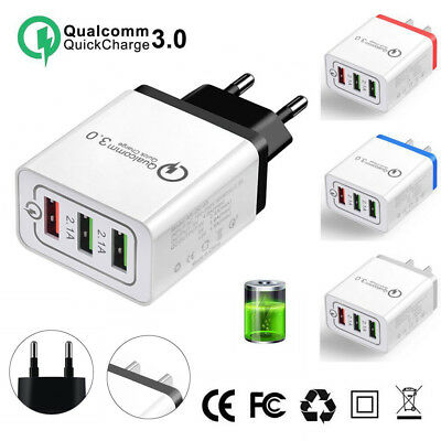 Quick Charge 3.0 3-Port USB 5V 3A Phone Wall Home Travel Fast Charger Adapter HW