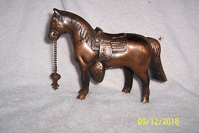 Vintage COPPER COATED Pot Metal Carnival Prize HORSE BANK with Key Included