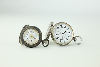 2 x Vintage .935 Silver Cased Key-Wind Fob Watches Inc.Enamel For REPAIR 92g