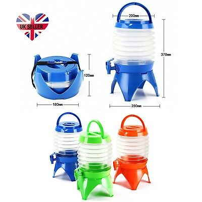 5L Folding Bottle Water Carrier Container Bucket Collapsible With Tap Camping UK
