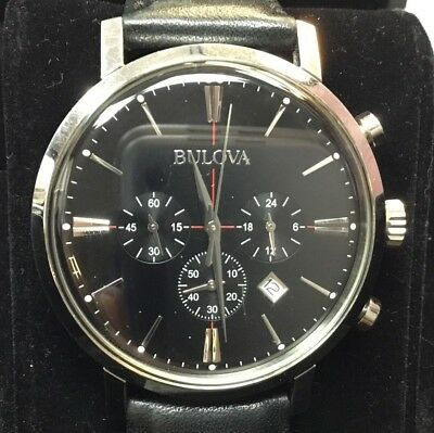 Bulova 96B262 Men's Classic Black Dial Black Leather Strap Chronograph Watch