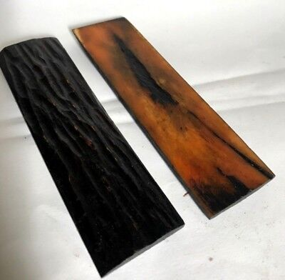 2 Jigged Amber Bone Scales Knifemaking Supply Brown Camel Bone Knife/Gun Handles