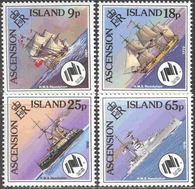 1988 Ascension Islands 445-8 Complete Mint NH Set of 4 Diamond Shaped Ships