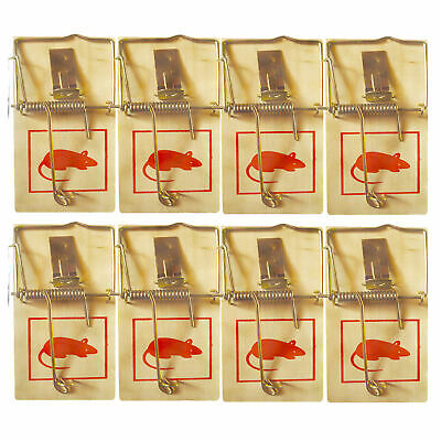 4 Traditional Wooden Mouse Traps Bait Mice Vermin Rodent Pest Control Mousetraps