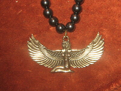 "24"" 8Mm Hematite  65Mm Gold Egypt Egyptian Isis Winged Goddess Pendant Necklace"