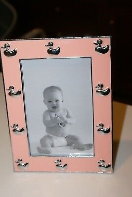 "Picture Frame Baby Nursery PEWTER AND EPOXY PINK WITH SILVER DUCKS 4""X6""PHOTO"