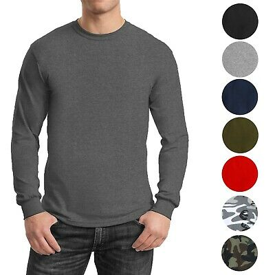 Mens Long Sleeve Tees Crew Neck Cotton Blend Layer Lounge Work Casual NEW