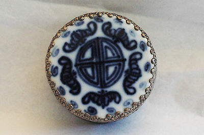 Chinese Porcelain Mirrored Shard & Silver Metal Blue and White Trinket Box