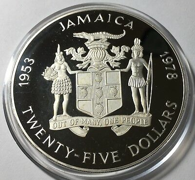 Jamaica 1978 $25 Large Silver coin, KM-76, Gem Proof in capsule, CV= $150