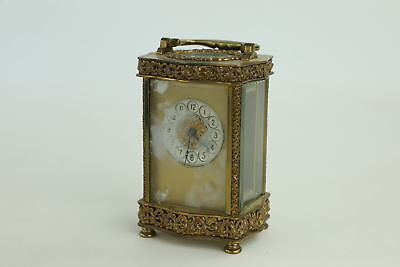 Antique Key-Wind BRASS Ornate Carriage Clock Working Inc. Key 1084g