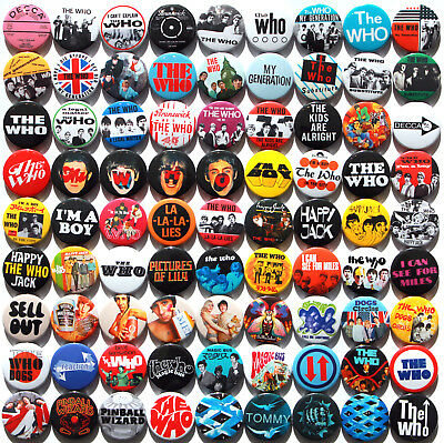 The Who 1964-69 Badge Set Collection - 81 Quality Button Badges (60s Rock)