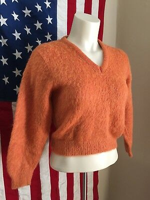 Vintage 1960's Union Made Wool Mohair Women's Pinup Sweater Autumn Orange