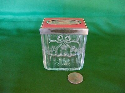 Antique French Guilloche Glass Vanity Jar Handpainted Scene Sterling Silver Lid