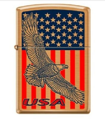 Zippo Lighter America USA Flying Eagle 204B Brushed Brass Genuine Custom