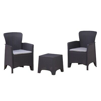 ALEKO Indoor/Outdoor Rattan Wicker Furniture 3-Piece Table with Two Chairs