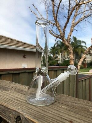 "Hookah Water Pipe Bong Glass 10"" inch CLEAR Ice Catcher Tobacco 14mm Stem Bowl"