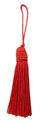 """RED 3"""" Chainette Tassels RED [Set of 10]"""
